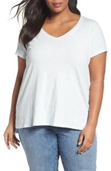 Eileen Fisher Plus Size Women's V Neck Slub Organic Cotton Tee Rain