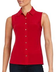 Tommy Hilfiger Button Down Sleeveless Blouse Scarlet