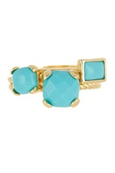 Ariella Collection Stone Accented Stacked Ring Set Blue