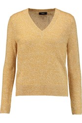 Theory Irello Linen And Cashmere Blend Sweater Mustard