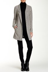 Bobeau Checker Print Coat White