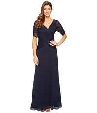 Adrianna Papell 3 4 Length Sleeve Rouched Stretch Tulle Dress With Beading Ink Women's Dress Navy