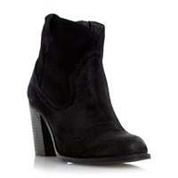 Linea Perman Western Style Heeled Ankle Boots Black Suede