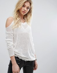 Replay Cold Shoulder Knit Jumper 011 Off White