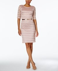 Connected Lace Belted Sheath Dress Blush