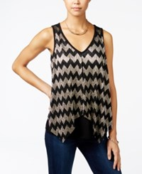 Amy Byer Bcx Juniors' Metallic Chevron Print Flyaway Top Multi Gold Chevron