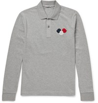 Moncler Lim Fit Appliqued Cotton Pique Polo Hirt Gray