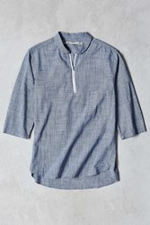 Shades Of Grey By Micah Cohen 3 4 Sleeve Shawl Zip Shirt Blue