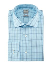 Ike Behar Large Windowpane Check Woven Dress Shirt Aqua Navy Blue Navy