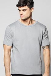 Boohoo Short Sleeve Raw Edge Sweater Grey