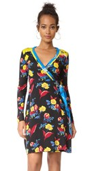 Diane Von Furstenberg Long Sleeve Wrap Dress Silese Black Silese Tile Blue