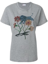 Red Valentino Floral Print T Shirt Grey