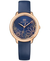 Tommy Hilfiger Women's Casual Sport Navy Leather Strap Watch 36Mm 1781783 A Macy's Exclusive Style Blue
