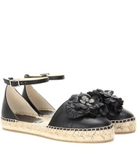 Jimmy Choo Dylan Flat Leather Espadrilles Black