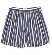 Sleepy Jones Victor Striped Cotton Boxer Shorts Navy
