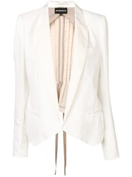 Ann Demeulemeester Pleated Blazer White