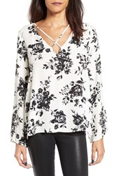 Lush Women's Cross Front Blouse Ivory Black Floral