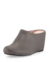Boston Distressed Suede Mule Pewter Taryn Rose