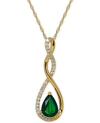 Macy's Emerald 2 3 Ct. T.W. And Diamond 1 10 Ct. T.W. Birthstone Pendant Necklace In 14K Gold Green
