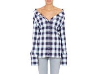 Off White Women's Checked Cotton Flannel Shirt Blue Pink