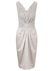Ariella Carina Lace And Satin Shift Dress Silver