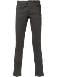 Attachment Skinny Cropped Trousers Men Cotton Polyurethane 3 Grey