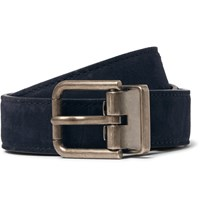 Dolce And Gabbana 2.5Cm Navy Suede Belt Blue