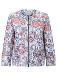 Marella Zip Through Print Jacket Navy
