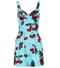 Dolce And Gabbana Exclusive To Mytheresa Cherry Printed Cotton Blend Playsuit Blue