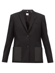 Burberry Narbeth Leather Trimmed Wool Blazer Black
