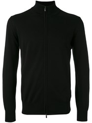 Canali Zip Up Cardigan Men Cotton 46 Black