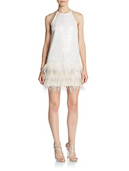 Saylor Emily Feather Trim Sequin Dress White