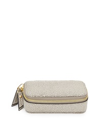 Neiman Marcus Large Faux Leather Pill Case Gray