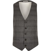 River Island Mens Grey Prince Of Wales Check Waistcoat