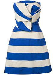 Delpozo Striped Bow Dress Blue