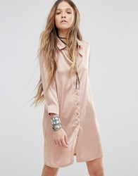 Young Bohemians Relaxed Shirt Dress With Delicate Embroidery Back Detail Nude Beige