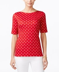 Charter Club Pima Cotton Tee Anchor Print New Red Amore