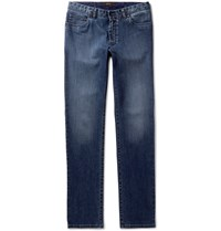 Brioni Meribel Slim Fit Washed Stretch Denim Jeans Blue