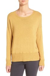 Eileen Fisher Cozy Stretch Knit Ballet Neck Sweater Yellow