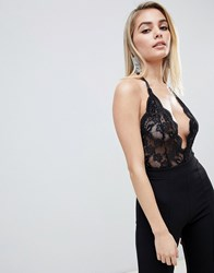 Club L Allover Lace Sheer Body In Black