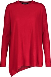 Magaschoni Asymmetric Silk And Cashmere Blend Sweater Claret