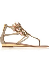 Rene Caovilla Crystal Embellished Metallic Ayers Wedge Sandals Taupe