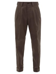 Margaret Howell Pleated Tapered Cotton Trousers Grey