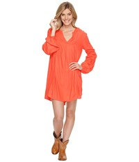 Rock And Roll Cowgirl Long Sleeve Dress D4 1222 Coral Women's Dress