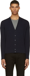 Moncler Navy Quilted Yoke Cardigan