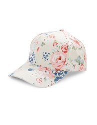 Bcbgeneration Floral Canvas Baseball Cap Whisper White