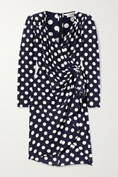 Michael Kors Collection Draped Wrap Effect Polka Dot Silk Crepe De Chine Dress Midnight Blue