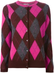 Moncler Argyle Cardigan Pink And Purple
