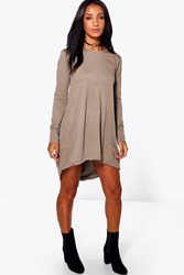 Boohoo Bonnie Dip Hem Cotton Shift Dress Mocha