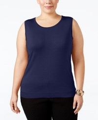 August Silk Plus Size Sleeveless Shell Newport Navy